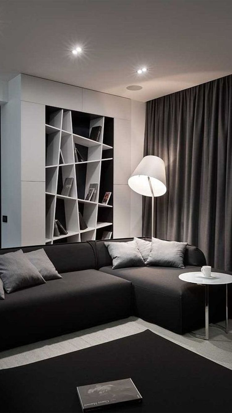 Black Aesthetic Decor To Make Your Home As Black As Your Soul Modern Apartment Living Room Dark Living Rooms Bachelor Pad Living Room Living room aesthetic dark