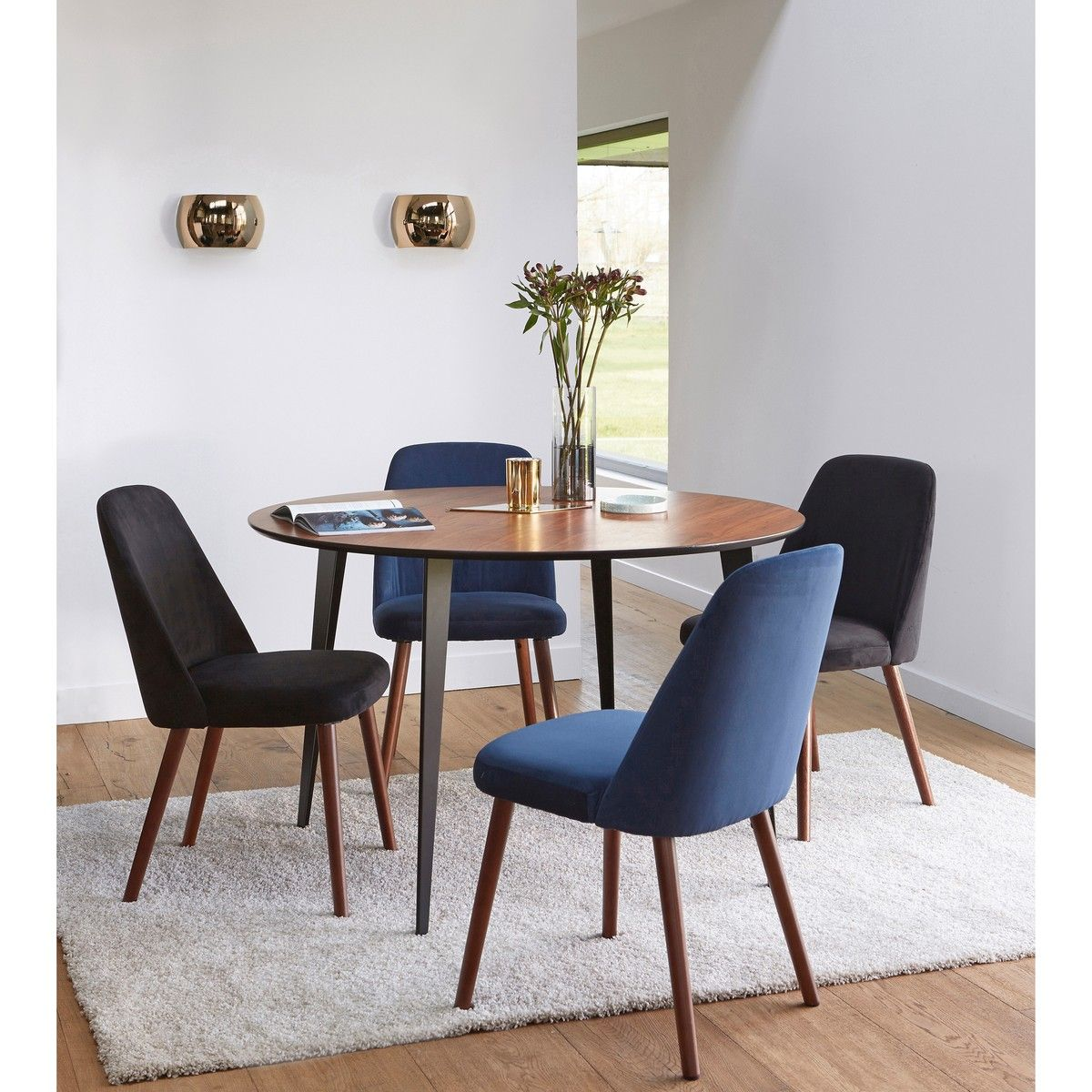 Watford Vintage Style Walnut Metal Round Dining Table Seats 4