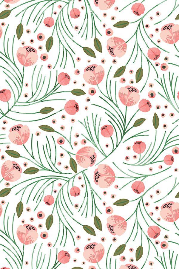 Winter Floral Pine Design Shopcabin Peony Wallpaper Pattern Art Prints