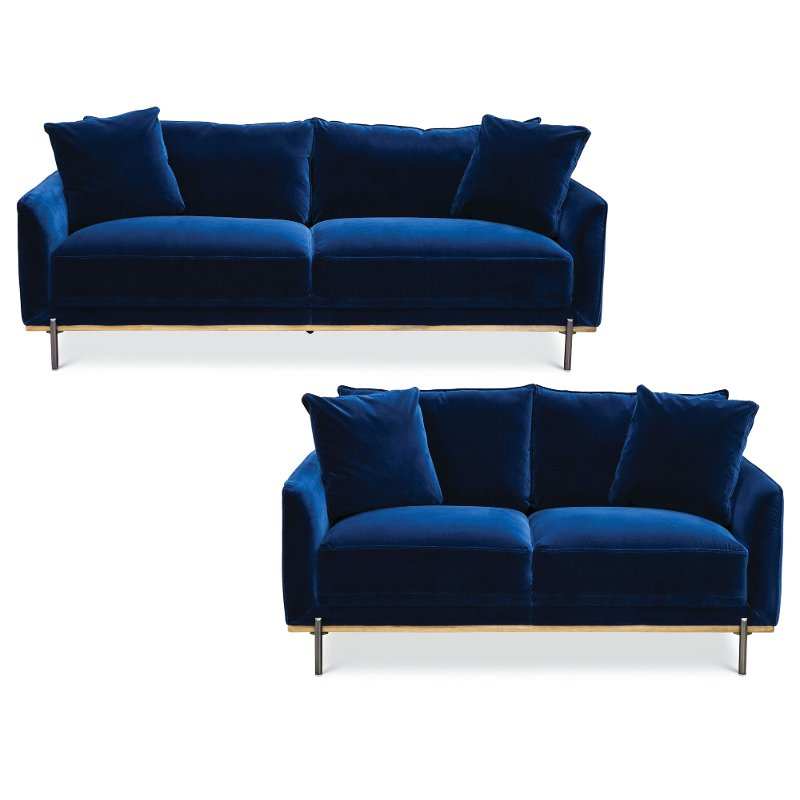 Best Royal Blue Velvet 2 Piece Living Room Set Marseille In 400 x 300