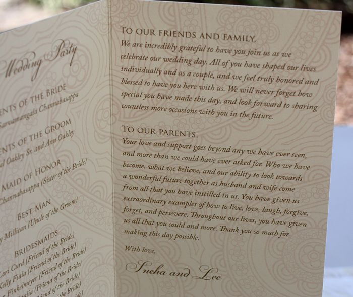 Thank You Message On Folded Wedding Program With Bold Paisley
