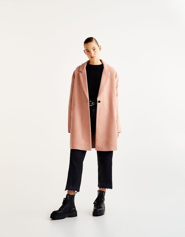 5c3a6cf3b3d7 Pull Bear - γυναικεία - ενδύματα - παλτό και μπουφάν - basic παλτό από  ύφασμα - ροζ παλ - 09751309-I2017