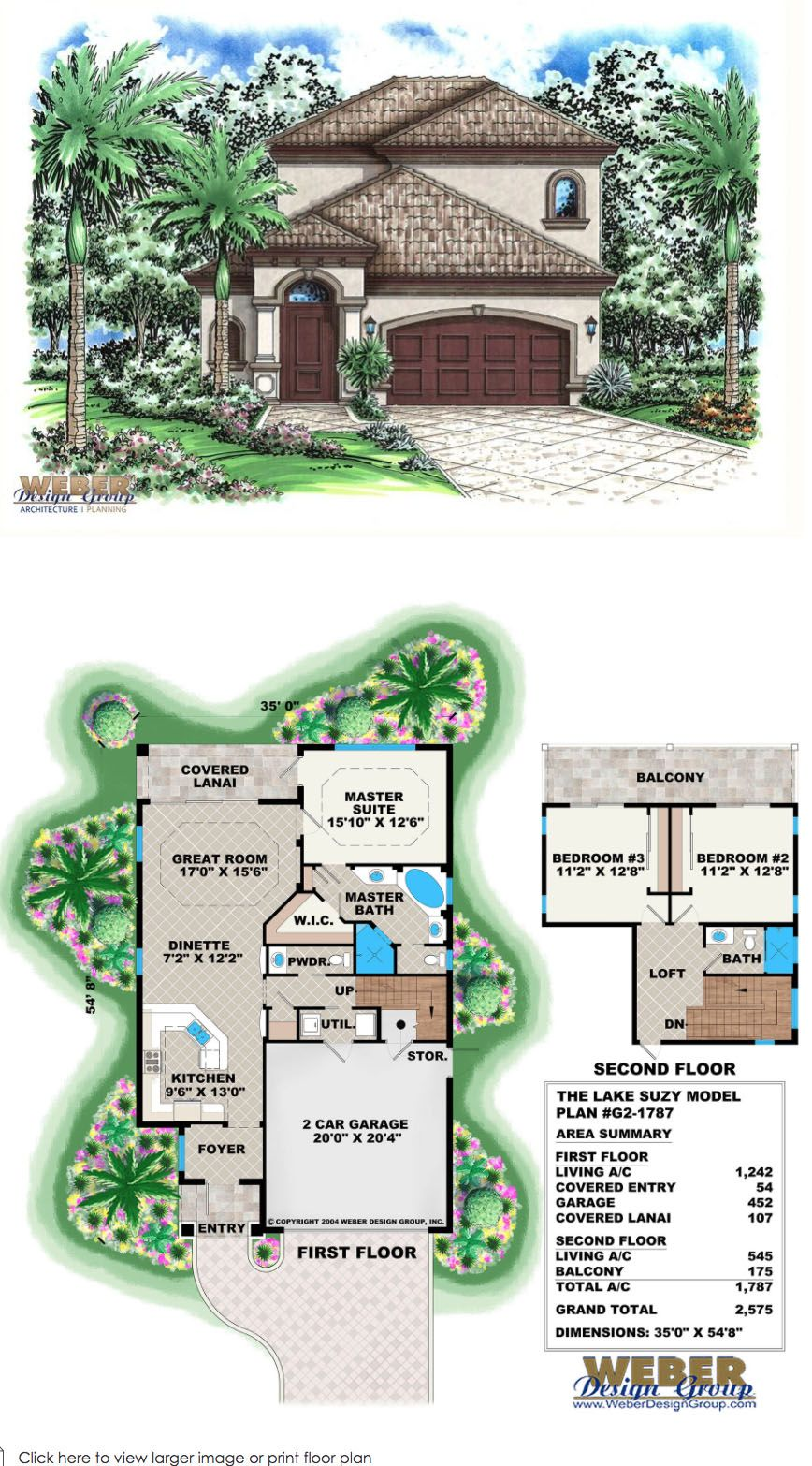 Mediterranean House Plan Small Narrow Lot 2 Story Home Floor