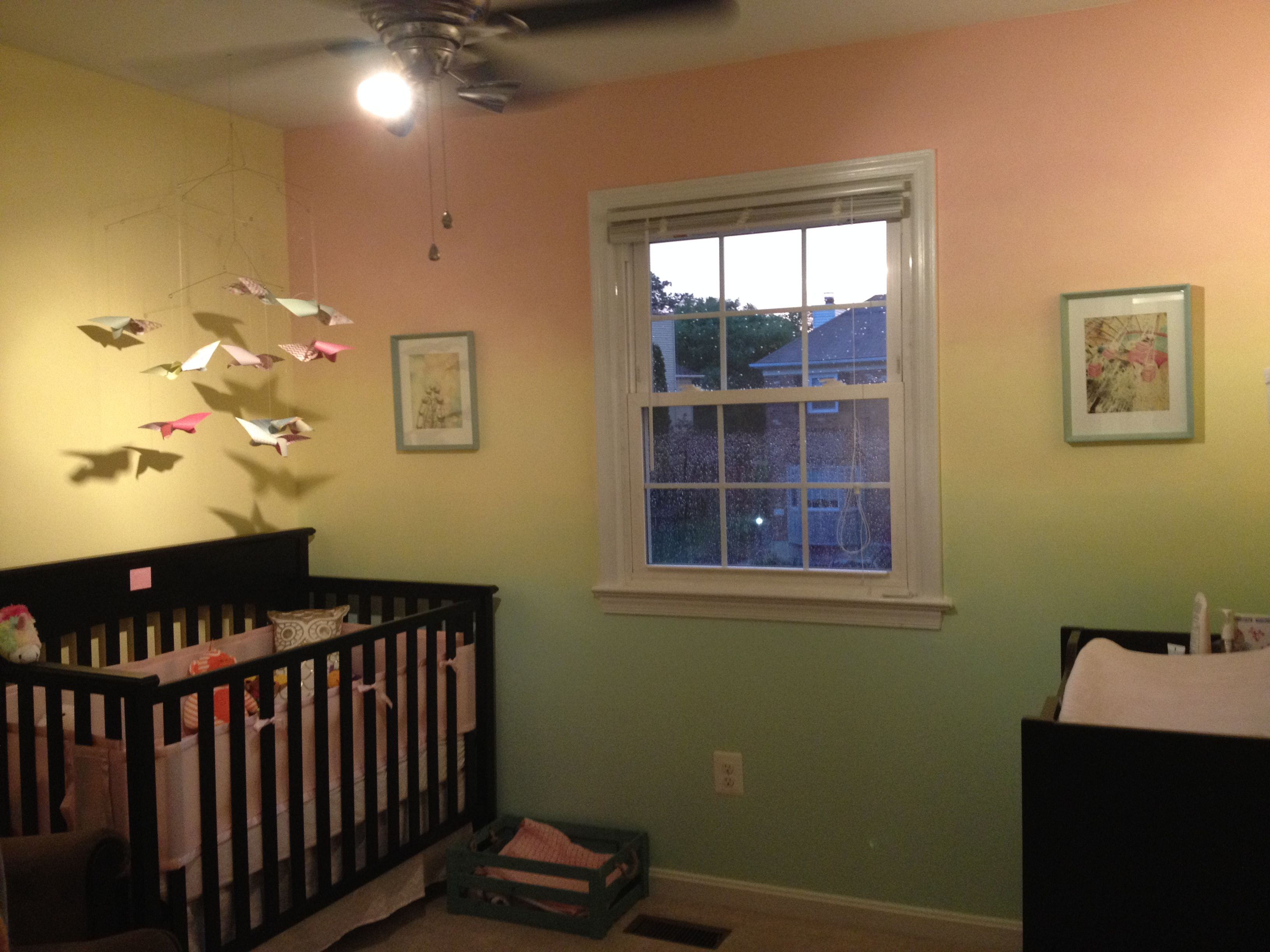 Bedroom paint two different colors - Bri S Whimsical Nursery 3 Color Ombre Wall Pick 3 Colors Of Paint Leave