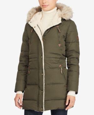Lauren Ralph Lauren Faux-Sherpa Anorak Coat - Litchfield Loden XL ... 76cba948aa39