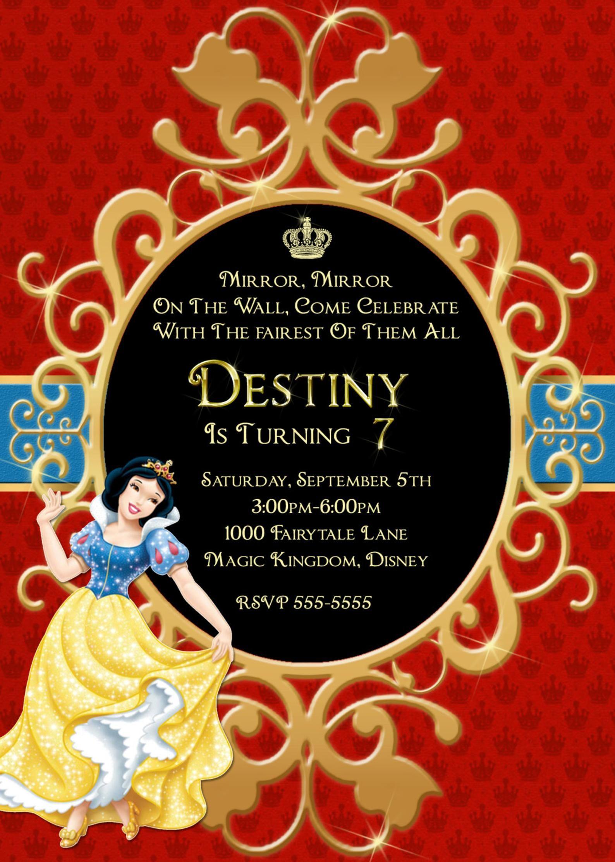 Snow White Birthday Invitation, Snow White Birthday ...