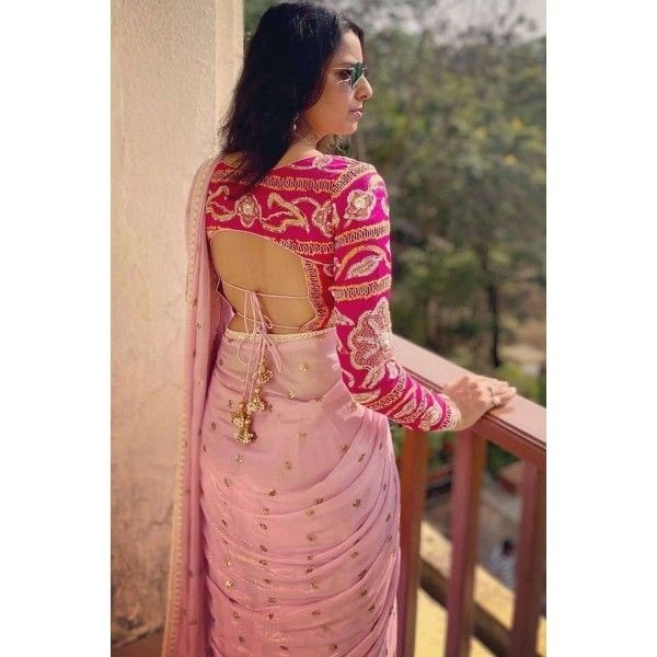 Baby pink georgette sequence and dori work saree