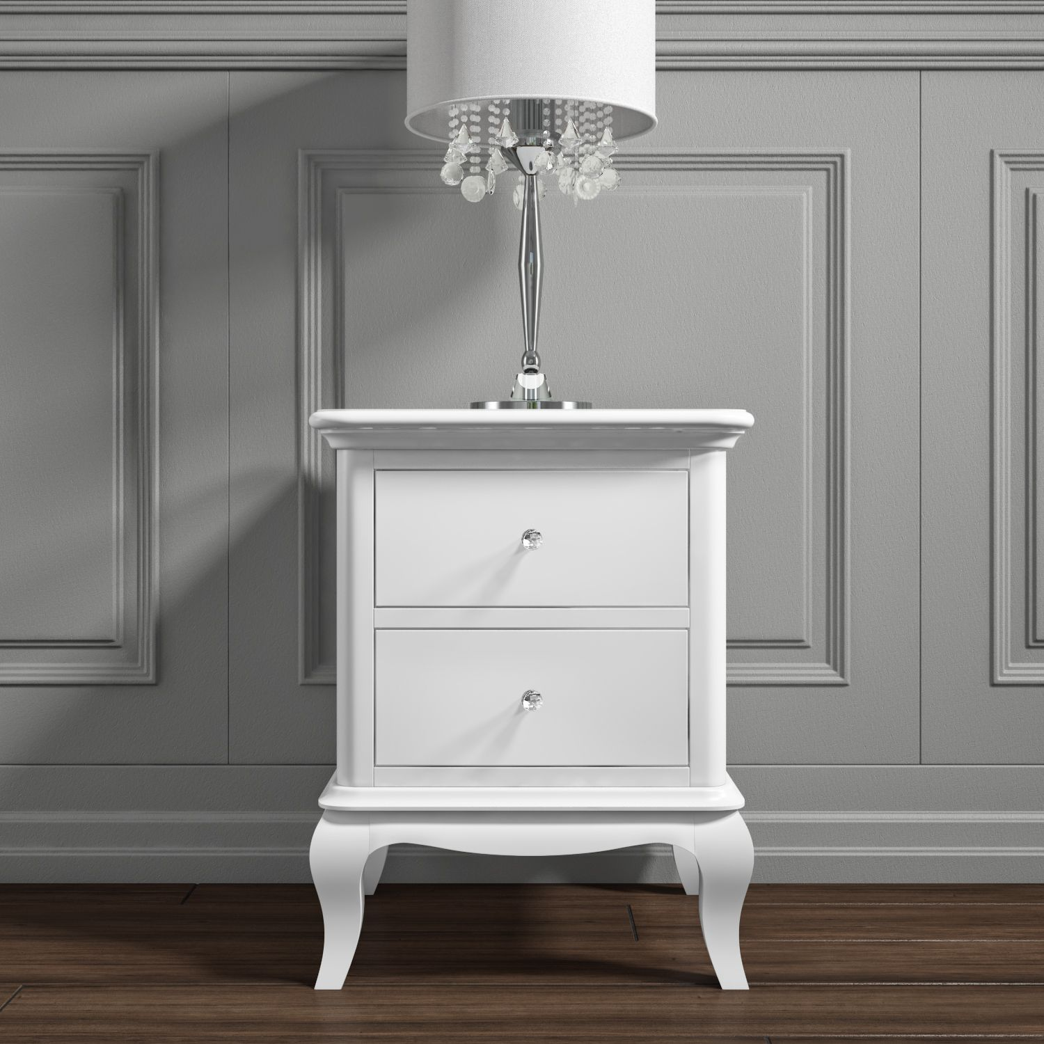Florentine 2 Drawer French Style Bedside Table In White Flr001