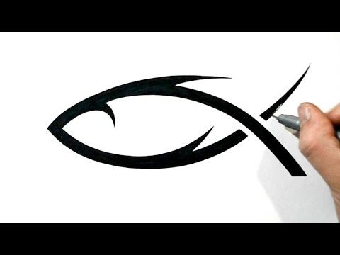How To Draw A Christian Jesus Fish Symbol Tribal Style Youtube