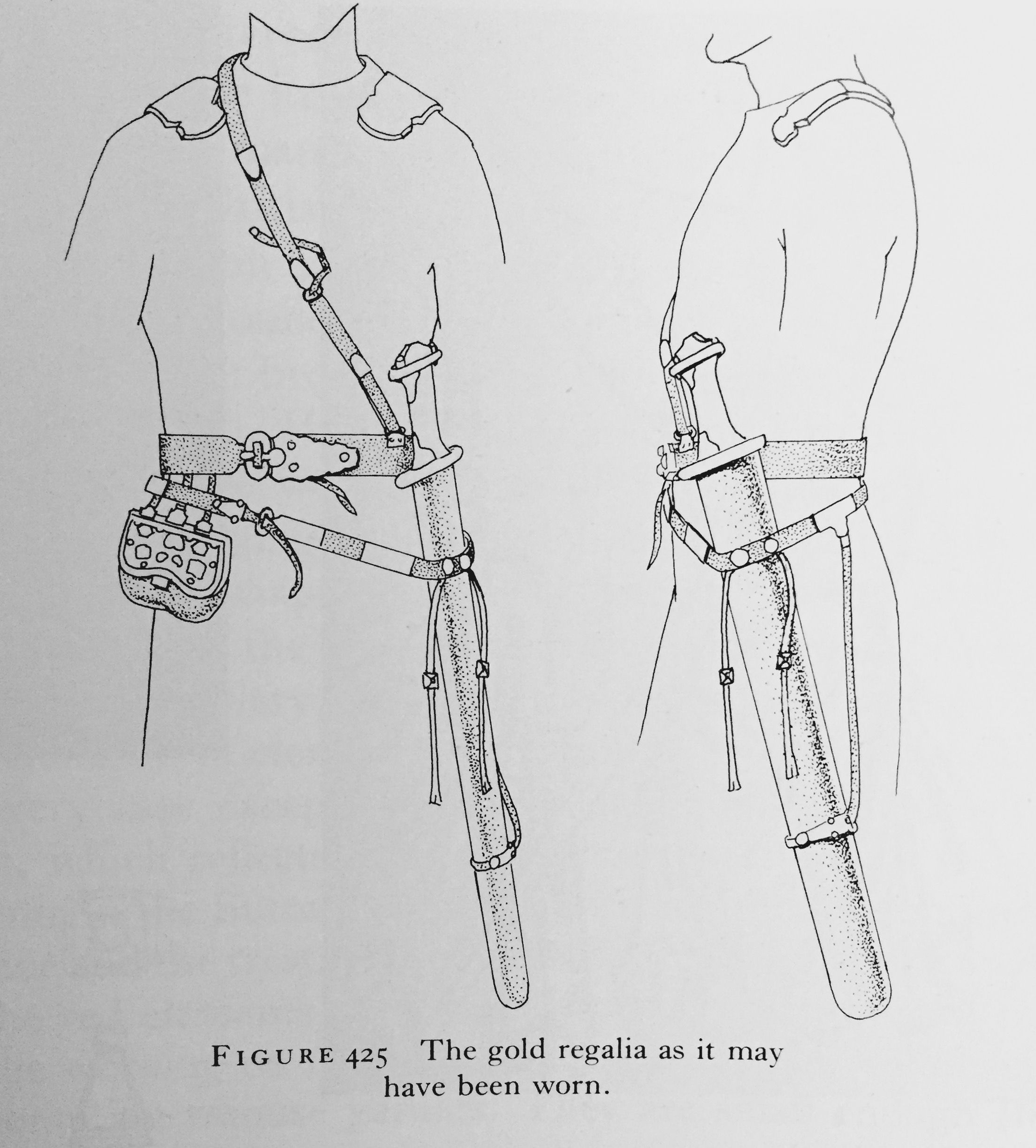 A hypothetical reconstruction of how certain regalia found within Mound 1, Sutton Hoo may have been worn. As a pedagogical exercise this has a lot of interest and value, but an archaeologist I am unhappy with many aspects, including the over-sized 'shoulder clasps' the support strap and fittings for the purse belt, and the over all nature of the scabbard suspension.