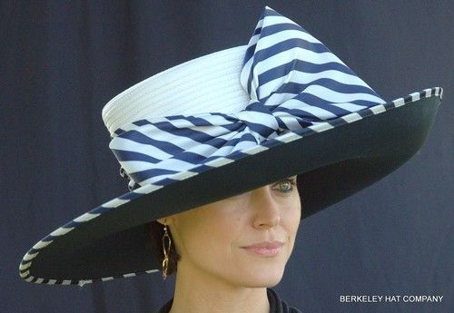 New Womens Kentucky Derby Hat Wide Brim Stripes Satin Navy Blue White Big  Bow  3c34beefce6d