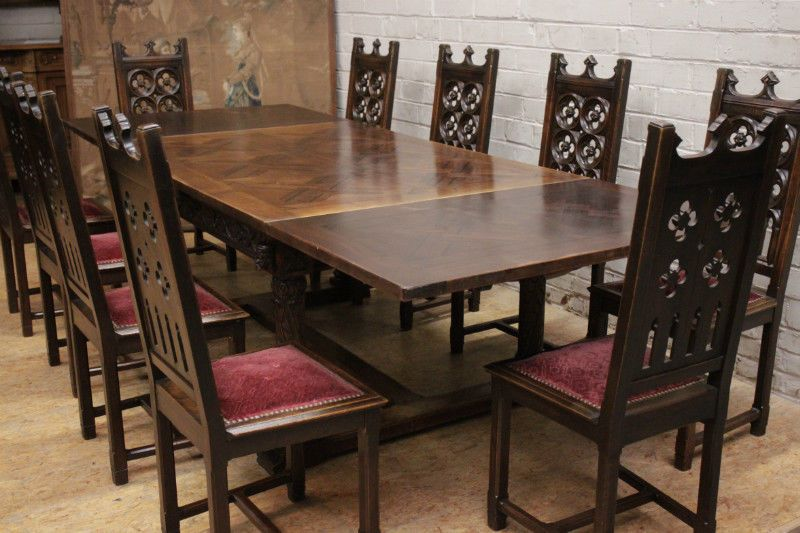 Antique French Gothic Dining Room Table 10 Chairs Walnut 19th Century
