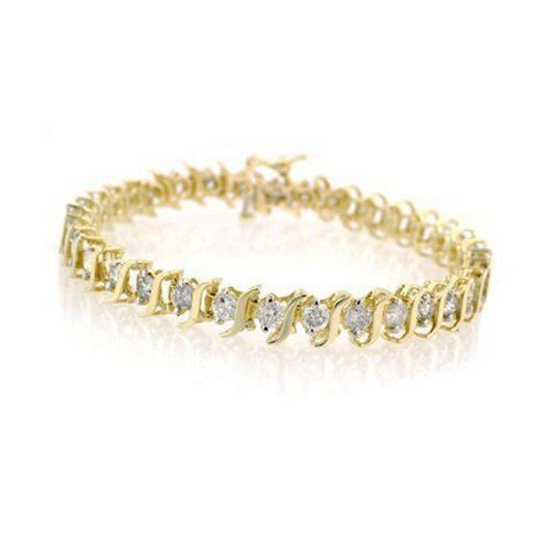 14k Yellow Gold Diamond S Link Tennis Bracelet 1 Cttw J K Color I2 I3 Clarity Tennis Bracelet Diamond Bracelets Gold Diamond White Gold Diamonds