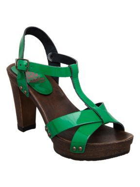 Head Over Heels Felicity patent strappy wood sandals