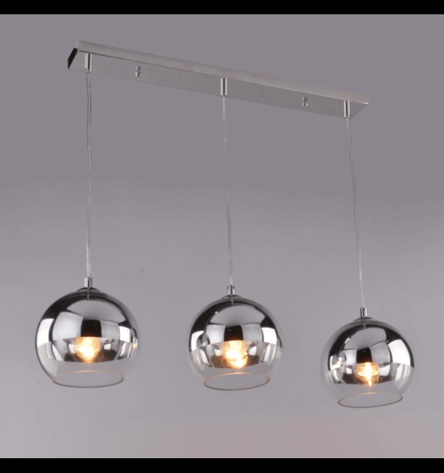 Hanglamp design meervoudig   3 chroom bollen (E27) Chicago