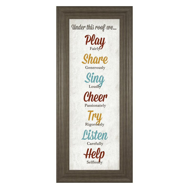 Classy Art Under This Roof Framed Wall Art - 18W x 42H in. - 1532