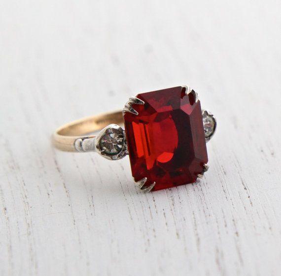 V 925 Sterling Silver Red Ruby Ring Natural Gemstone Halo Sparkling Size H