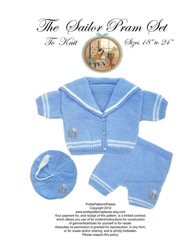 Vintage Digital Knitting Pattern - Baby Sailor Suit Pram Set - PDF ...