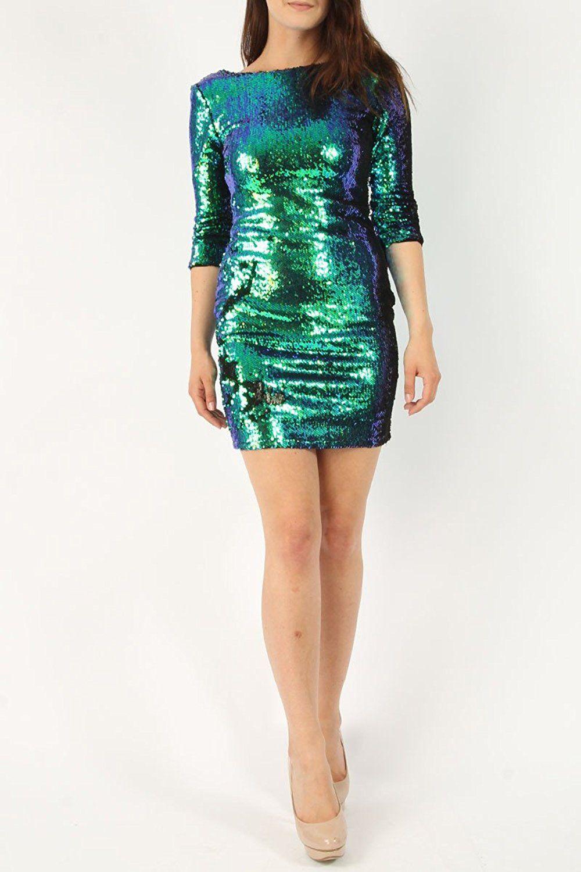 Damen Two Tone Pailletten-Kleid , figurbetontes Kleid EU-Größe 36-42 ...