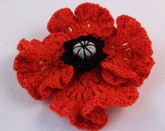 Ceramic poppy brooch one handcrafted pottery flower brooch ceramic poppy brooch one handcrafted pottery flower brooch remembrance day poppy mightylinksfo