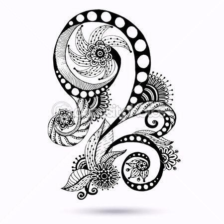 henna paisley mehndi doodles abstract floral vector illustration rh pinterest com arabic henna designs vector Vector Henna Finger Design