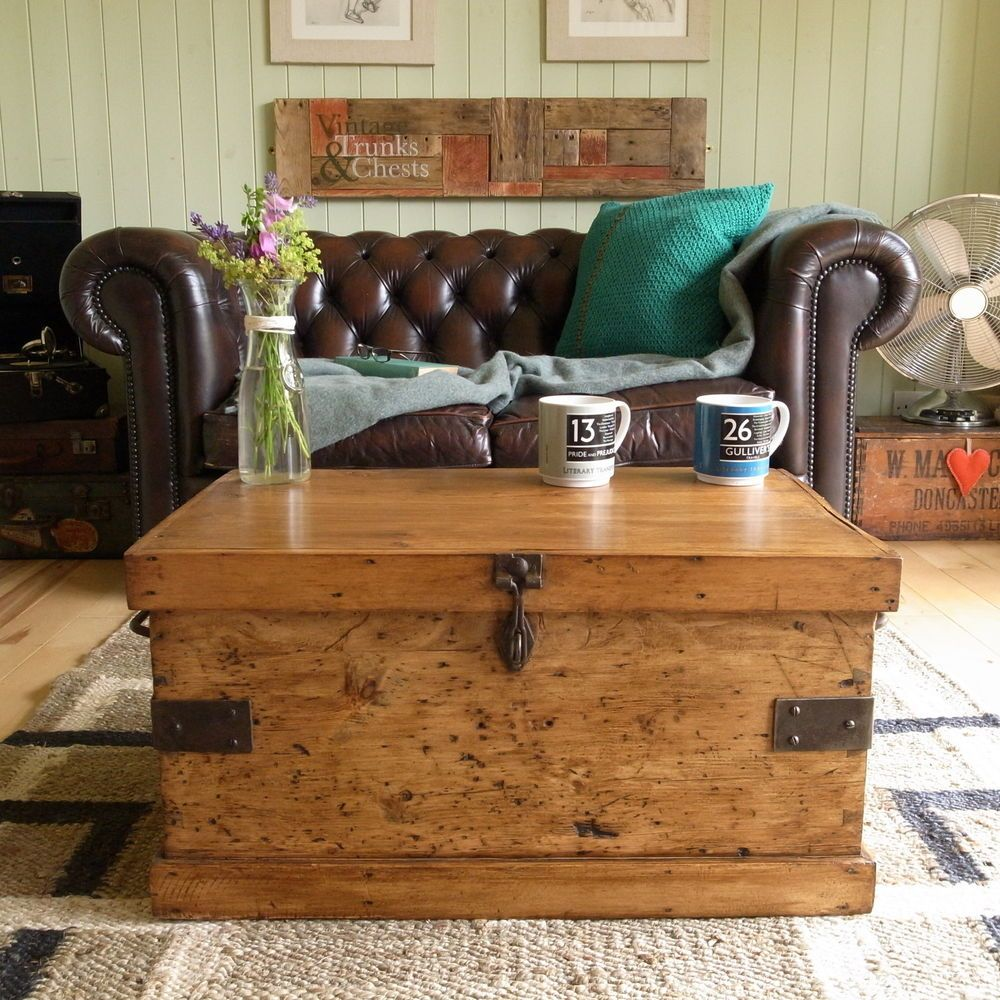 Mexican Trunk Coffee Table: Vintage RUSTIC Pine INDUSTRIAL Factory TOOL Chest TRUNK