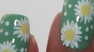 nail art in white with flowers - YouTube