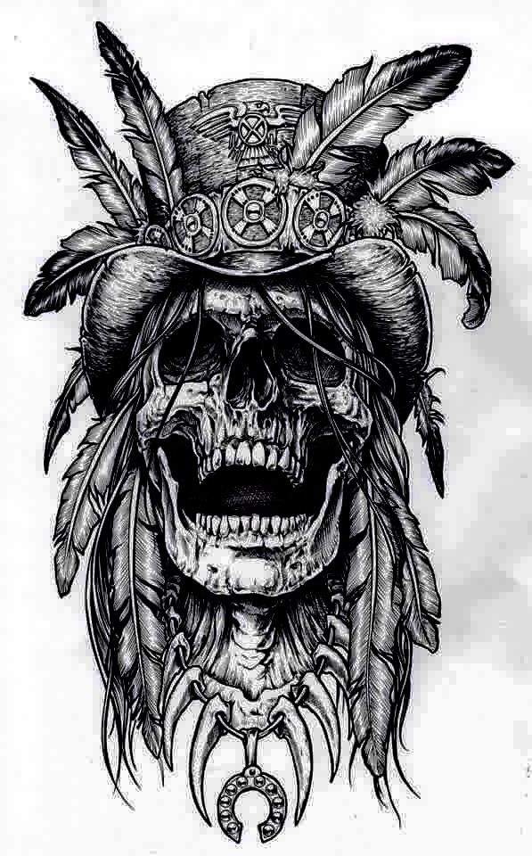 683f46e35 Pencil Drawing Theme Tattoo, Indian Chief Tattoo, Indian Skull Tattoos,  Badass Drawings,