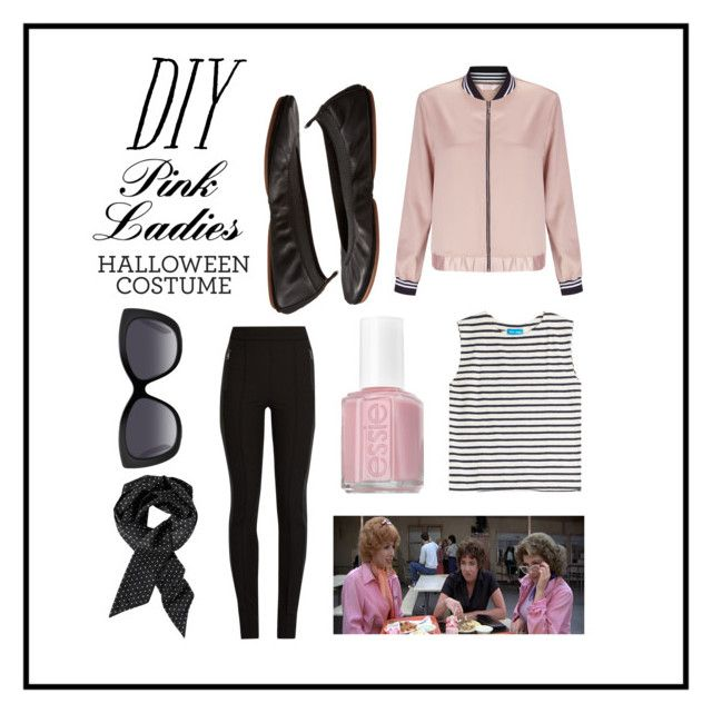 """DIY pink ladies costume"" by thepreppycowgirl ❤ liked on Polyvore featuring Miss Selfridge, M.i.h Jeans, Everyday Minerals, Essie, Moncler, Yosi Samra, Chico's, halloweencostume and DIYHalloween"