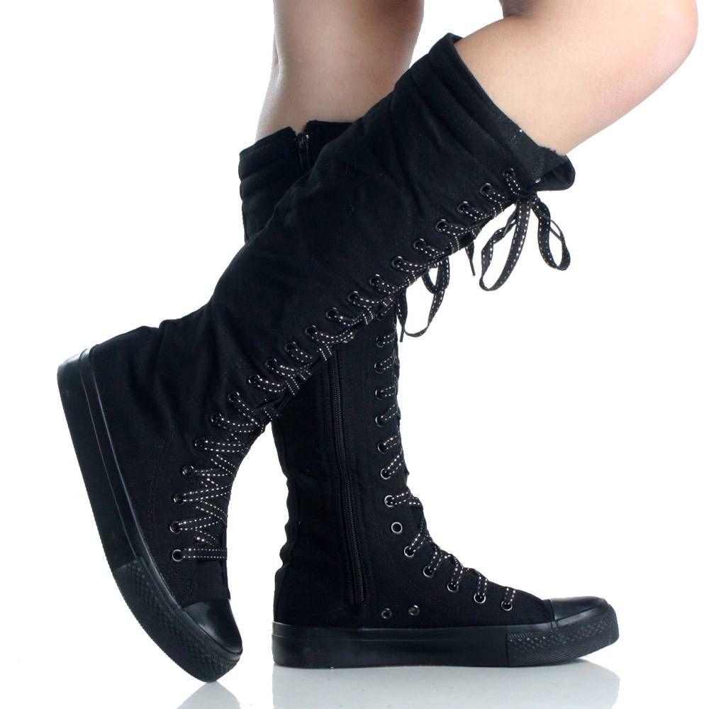 Black Canvas Lace Up Skate Punk Sneaker Flat Womens Knee -2523