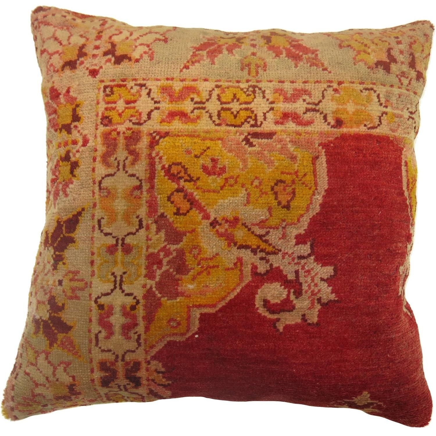 Turkish Sivas Rug Pillow In Reds And Gold Yastik Yastiklar