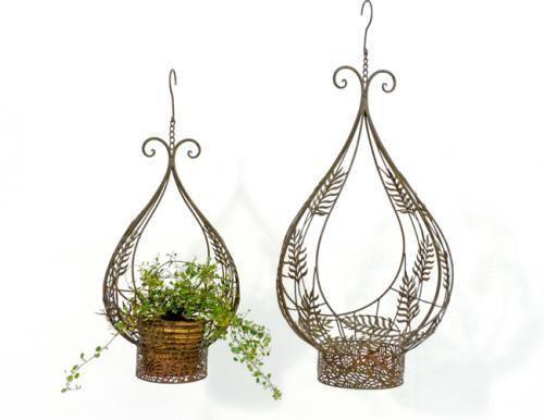 Pflanzkorb Blumenampel Korb Fronda Metall 39x27x78 Cm Garten - blumenampel selber machen hangekorb