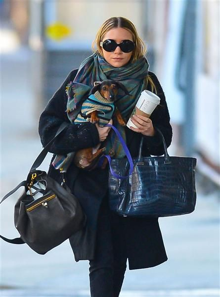 Ashley Olsen carries her pooch on the streets of New York. See more photos on Wonderwall: http://on-msn.com/WqsBhq