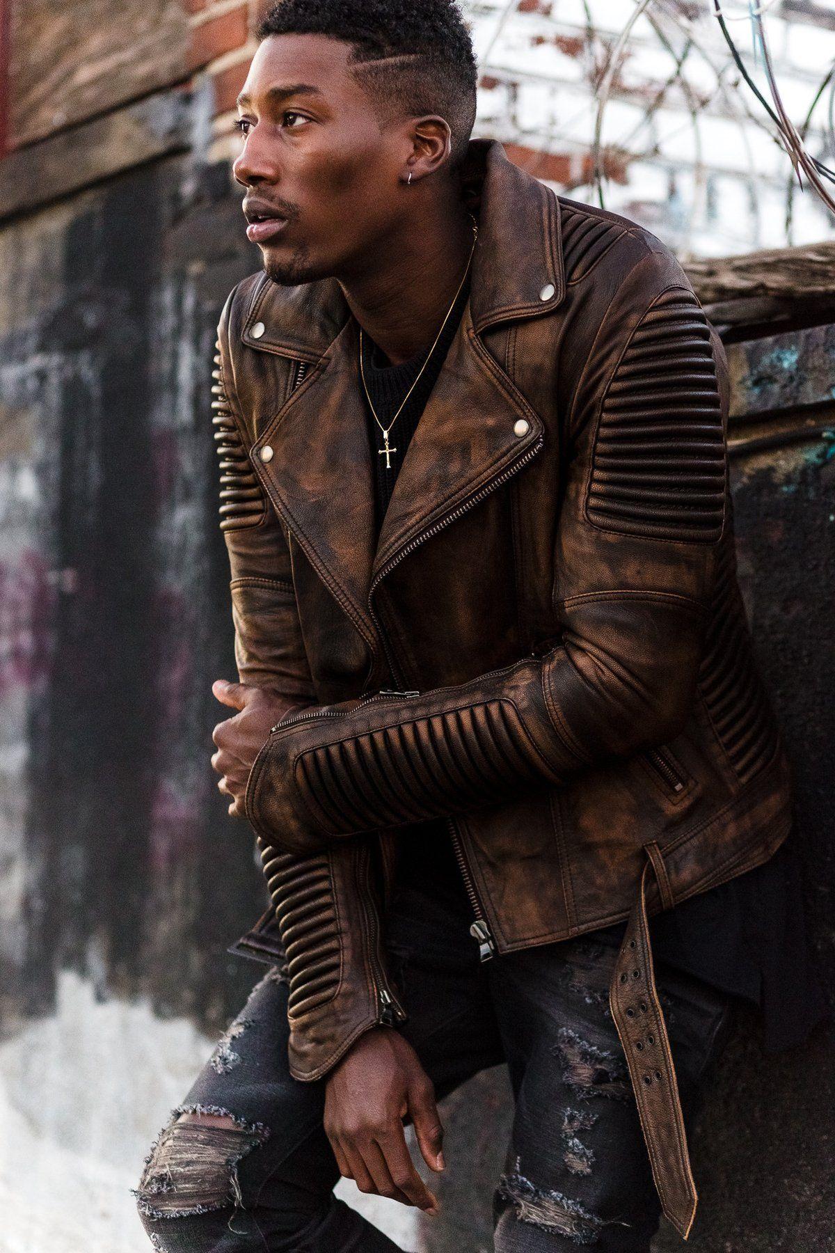 Stealth Moto Jacket Vintage Brown Leather Jacket Men Hipster Mens Fashion Mens Fashion Rugged [ 1800 x 1200 Pixel ]