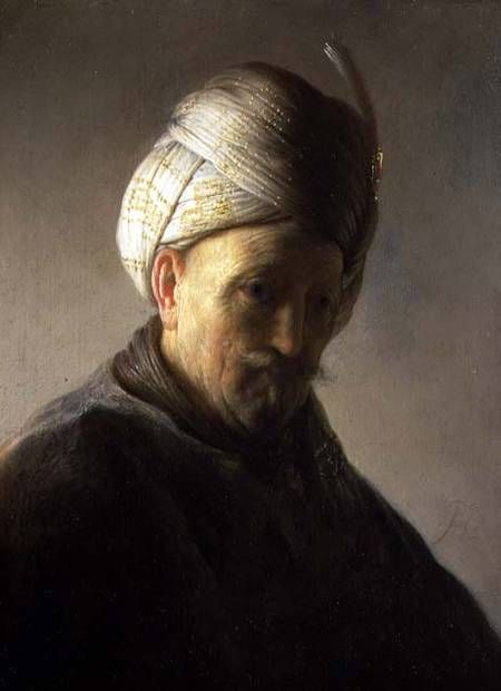 Bust of a Man Wearing a Turban, by Rembrandt van Rijn