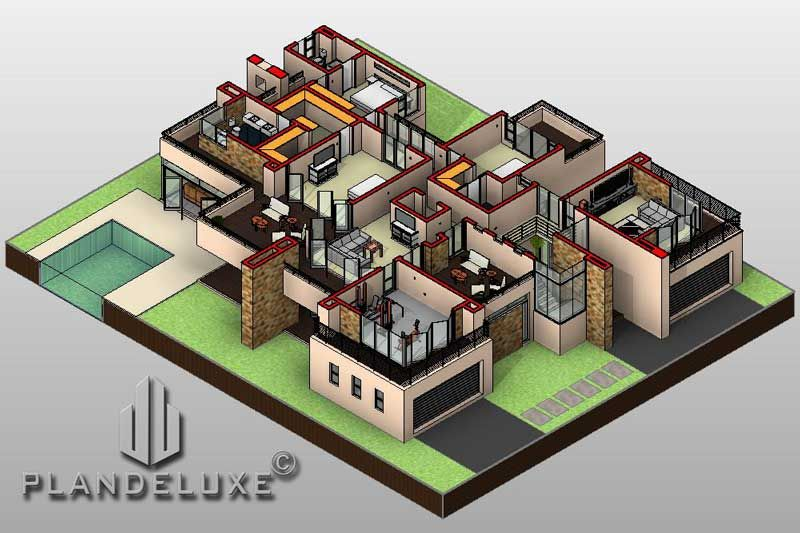 643sqm Double Story 4 Bedroom House Plan Designs Plandeluxe 4 Bedroom House Plans Bedroom House Plans Flat Roof House