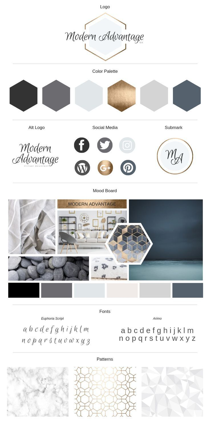 Modern Gold Branding Board | Canva | Lady Boss Studio