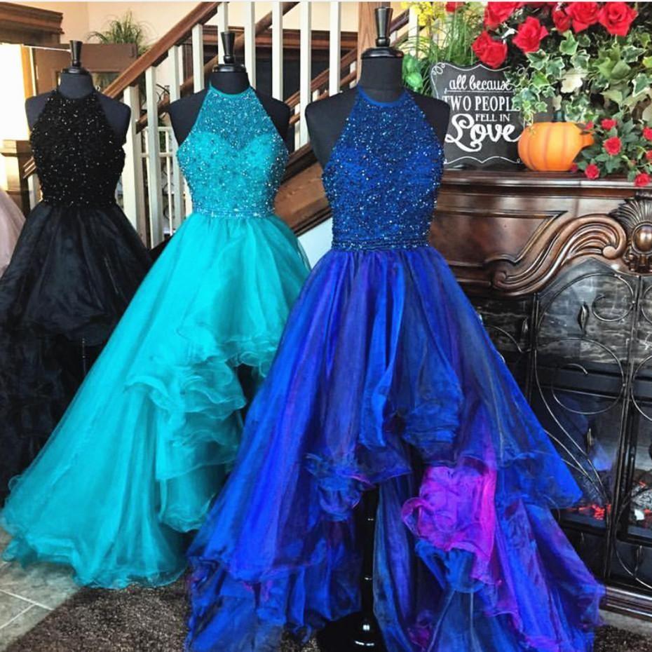 Sparkly beading halter organza ruffles front short long back prom
