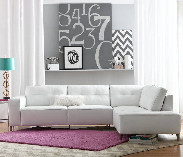 White Leather Sofa Rooms To Go: White Furnishing Comes To Life With The Right Pop Of Color
