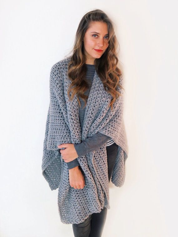 PATTERN For Blanket Poncho Crochet Wrap Cape Cardigan Ruana Boho Custom Crochet Ruana Pattern