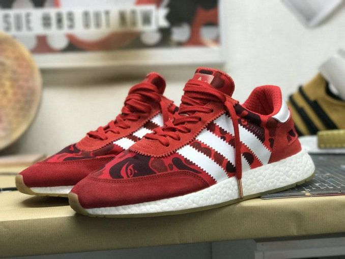 Newest Adidas Running Shoes BAPE X adidas Iniki Runner BOOST Camo Red