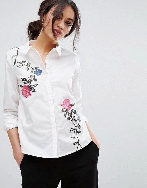 39014656e76818 Vero Moda Floral Embroidered Shirt in white at Asos
