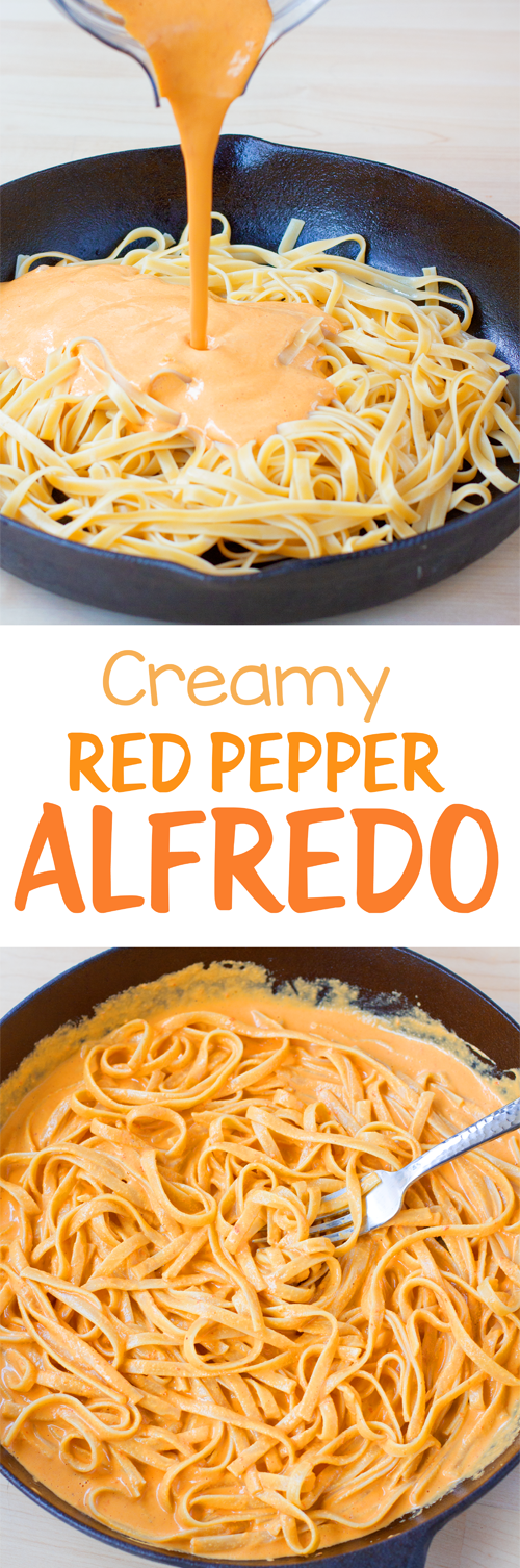 Creamy Red Pepper Vegan Pasta Alfredo Made Without Any Tofu Or Heavy Cream This Recipe Is So Good Vegan Pasta Stuffed Peppers Pasta Recipes Alfredo Recipes