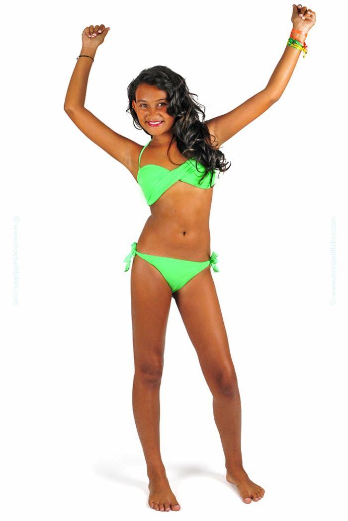 fille maillot de bain 10 ans Mon petit bikini en vert flashy 880a849e47e
