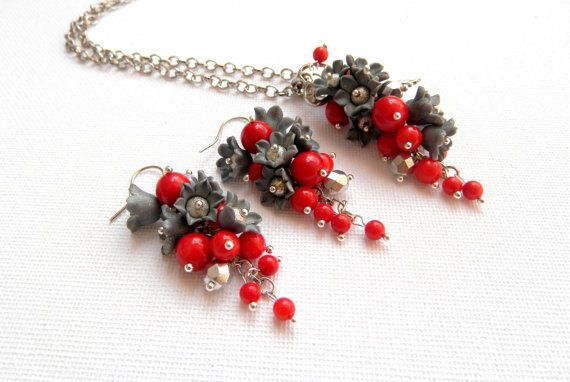 Red coral earrings and pendant  Snowflake  Lily of by insoujewelry
