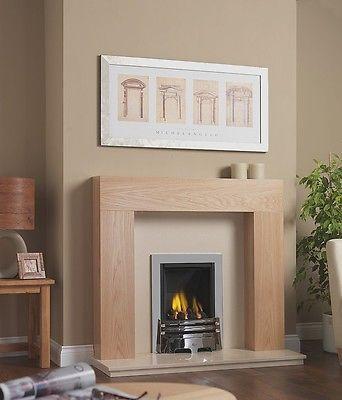 4 Brushed Steel Gas Fire Gas Cream Marble Fireplace Oak Mantle