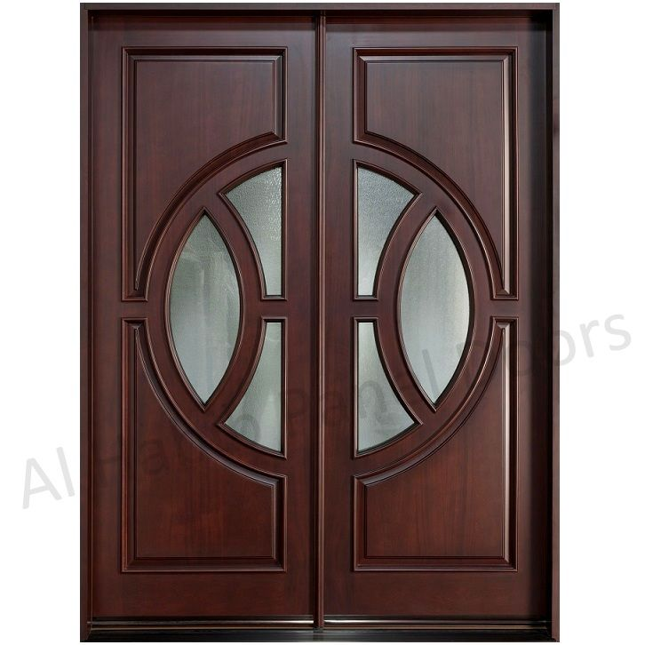Dayar Wooden Double Door With Glass Football Design Hpd534 Glass