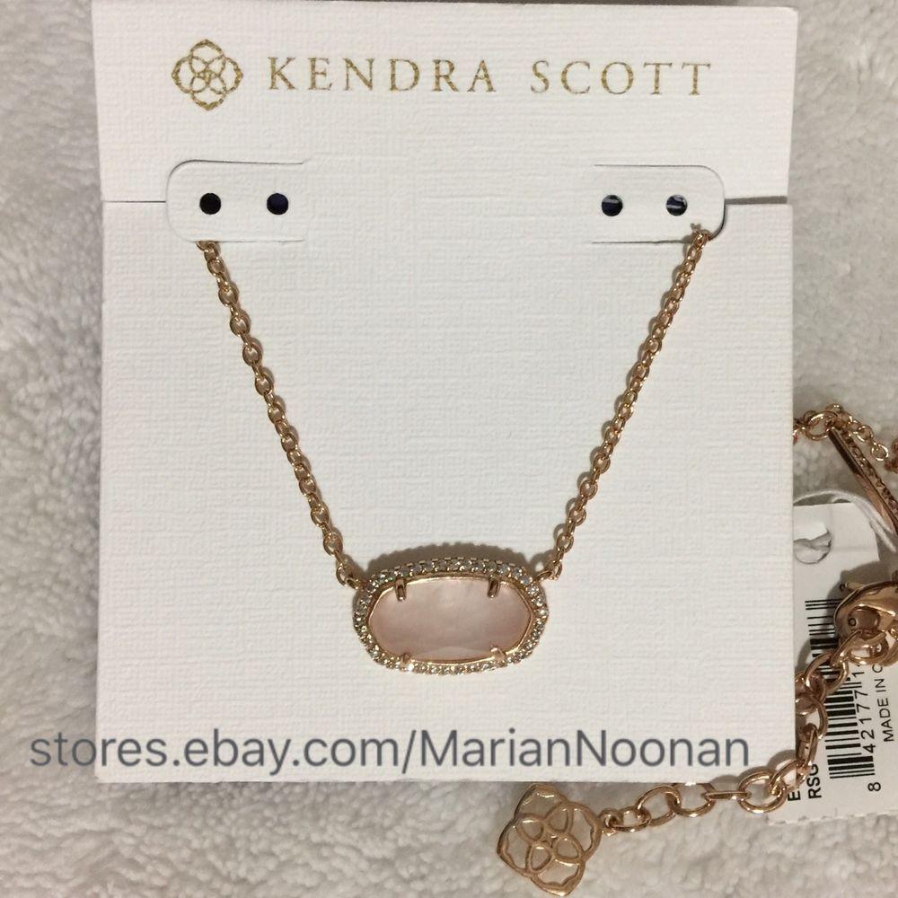 Kendra Scott Lux Elisa Necklace Rose Quartz Cz Pave Rose Gold With