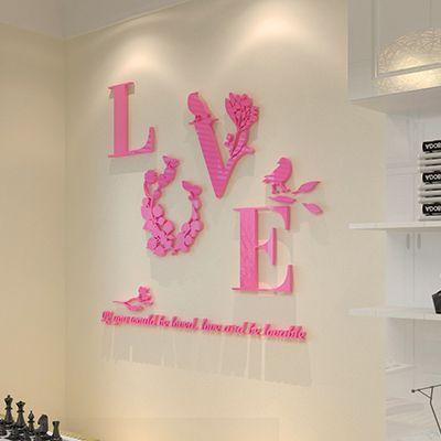Romantic stereoscopic 3D LOVE mirror wall stickers acrylic stickers ...