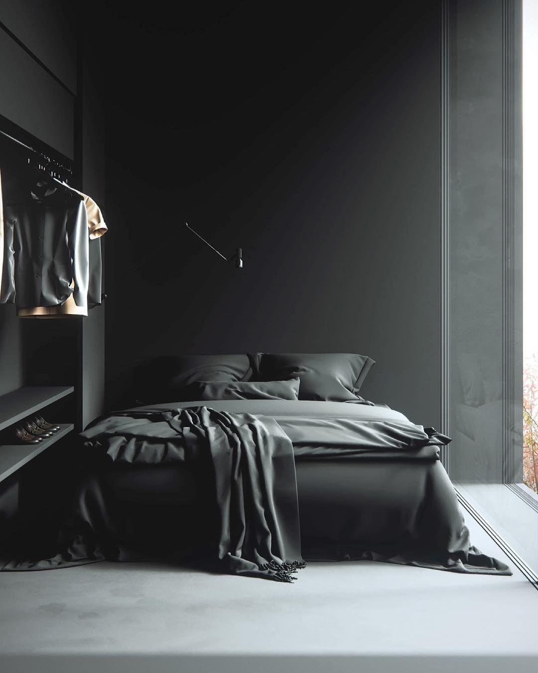Dark Af Stylish Bedroom Minimalism Interior Bedroom Design